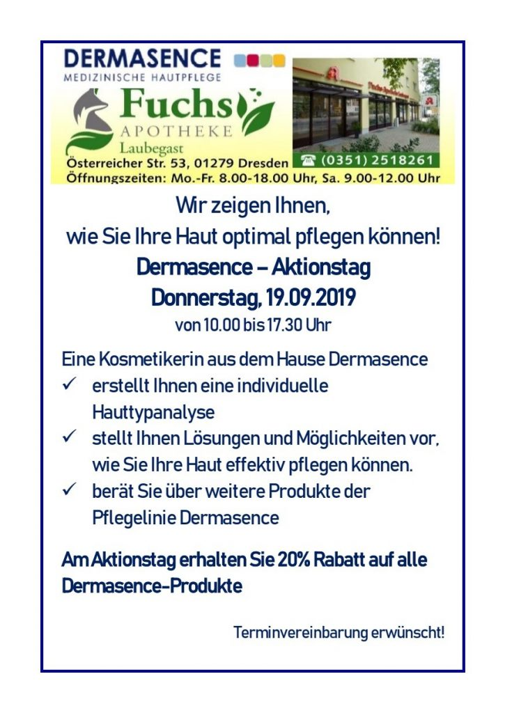 Flyer Dermasence-Aktionstag